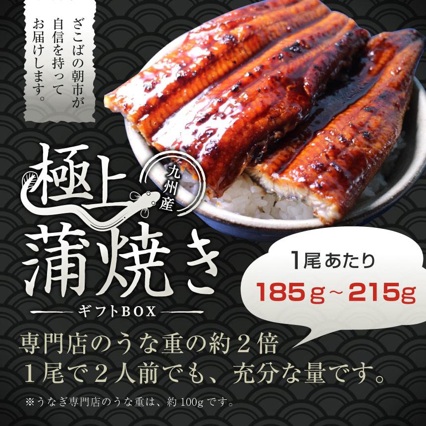 九州産うなぎ(鰻・ウナギ)の蒲焼きお取り寄せギフト(ギフトボックス) 1尾あたり185g〜215g