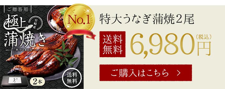 特大うなぎ(鰻・ウナギ)蒲焼2尾